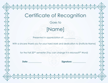Certificate of Recognition for Hard Work in Semester