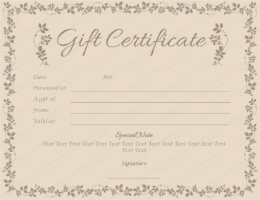 Choco Gift Certificate Template