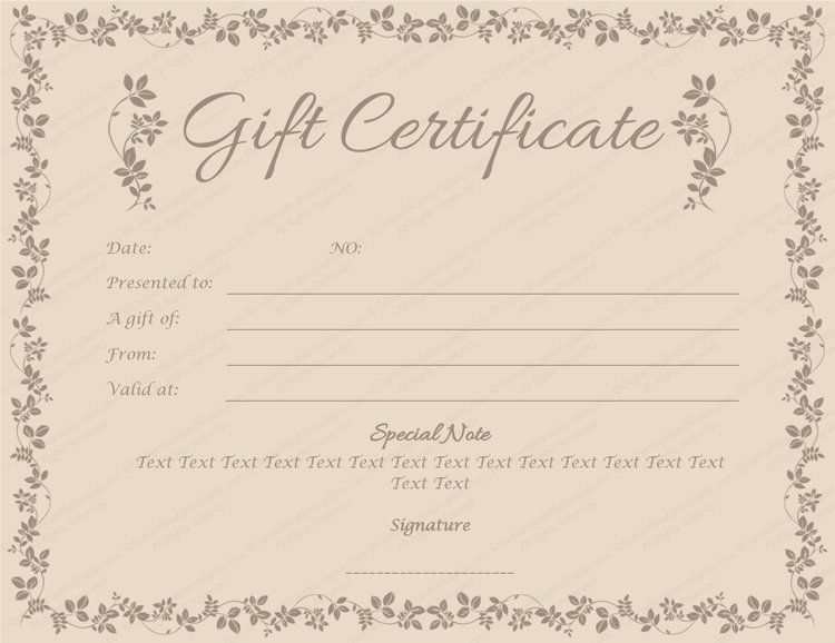 Choco Gift Certificate Template Get Certificate Templates