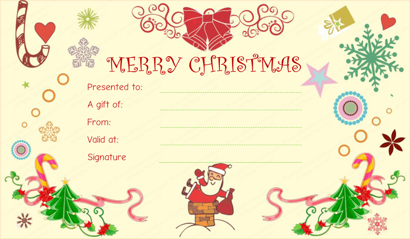 Elegant Christmas Fun Gift Certificate Template Regarding Christmas Gift Card Template
