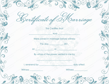 Classic Bluish Marriage Certificate Template