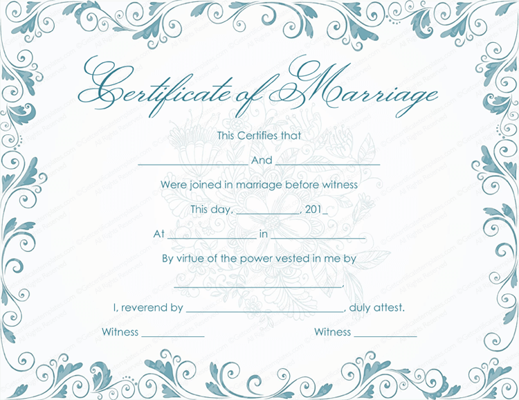 Bluish marriage certificate template classic bluish marriage certificate template yadclub Image collections