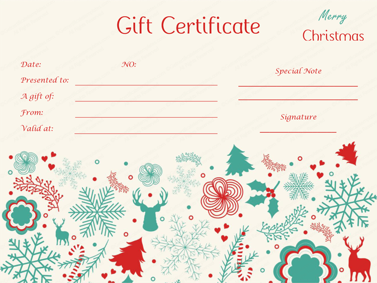 Delicate christmas gift certificate template for Holiday gift certificate template free printable