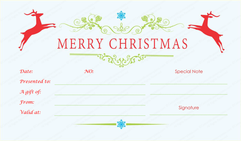 Double reindeer christmas gift certificate template for Holiday gift certificate template free printable