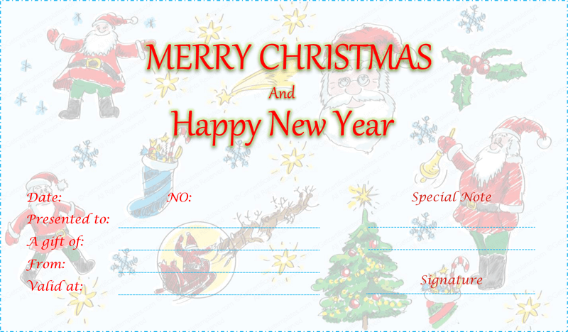 Duel festive christmas gift certificate template for Holiday gift certificate template free printable