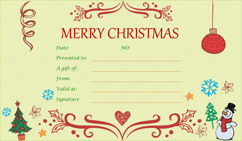 festive decorating christmas gift certificate template
