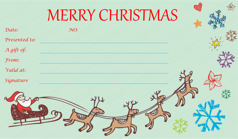 Awesome Flying Reindeer Christmas Gift Certificate Template In Printable Christmas Gift Certificates Templates Free