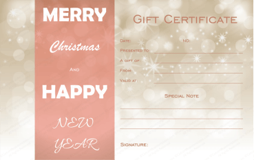 Golden Sparks Christmas Gift Certificate Template