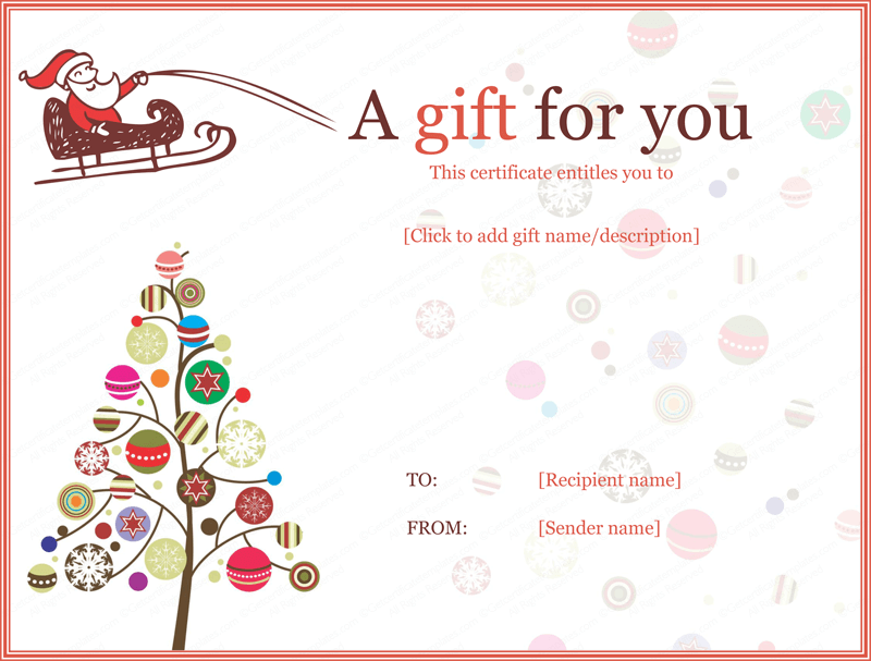 Christmas Gift Certificate Templates – Free Printable Holiday Gift Certificates