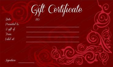 Mahroon Swirls Gift Certificate Template