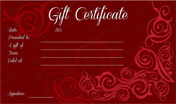 Mahroon Swirls Gift Certificate Template