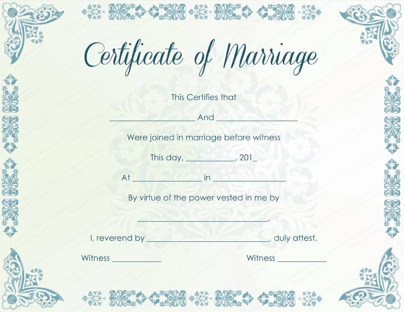 Mint Colored Marriage Certificate Template