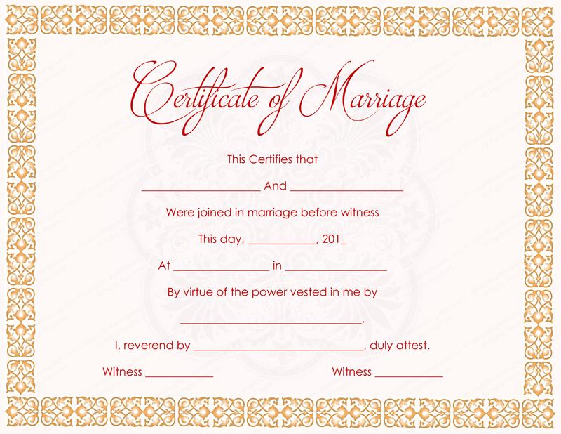 orange strings marriage certificate template