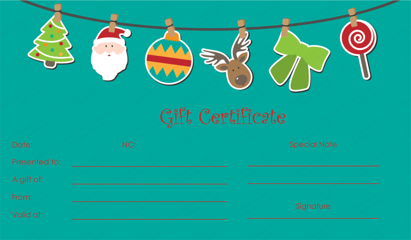 Ornament christmas gift certificate template for Holiday gift certificate template free printable
