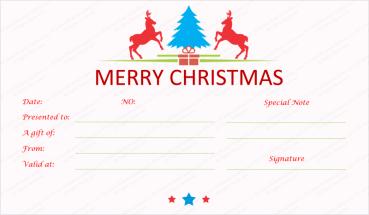 Prancing-Reindeer-Christmas-gift-certificate-template