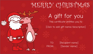 Santa Friend With Reindeer Gift Certificate