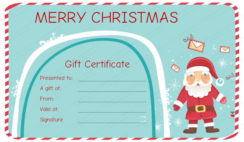Santa Messages Christmas Gift Certificate Template  Christmas Gift Card Template
