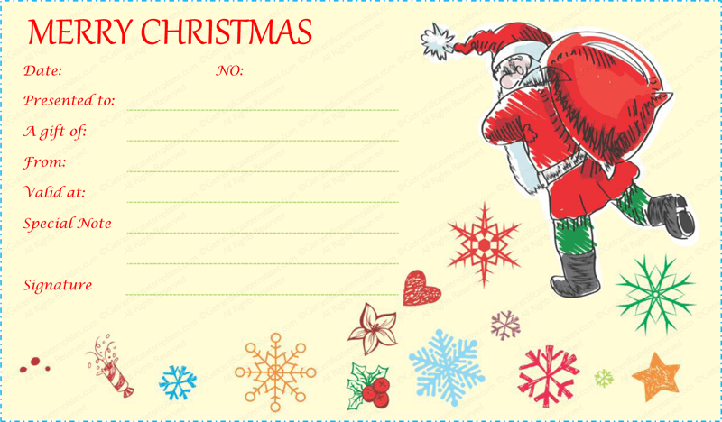 Santa with gift bag gift certificate template for Holiday gift certificate template free printable
