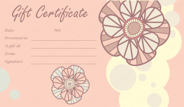Tea Pink Flowers Gift Certificate Template