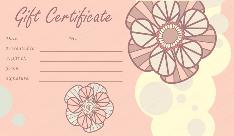 Tea pink flowers gift certificate template for Free pedicure gift certificate template