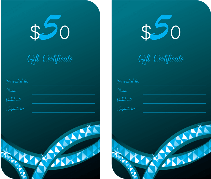 Teal Diamonds Gift Certificate Template