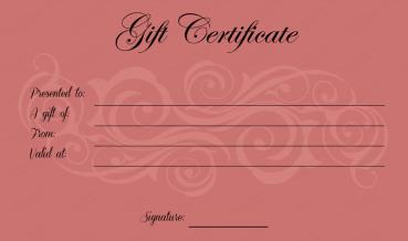 Tea-pink Swirl Gift Certificate Template