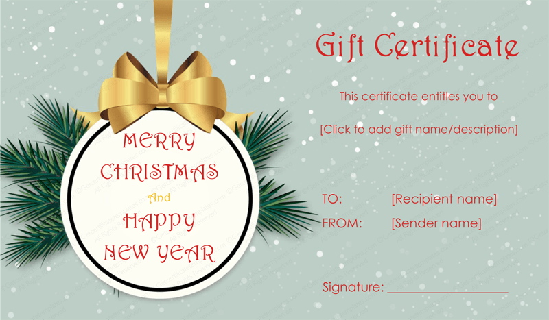 Tree badge christmas gift certificate template for This entitles the bearer to template certificate