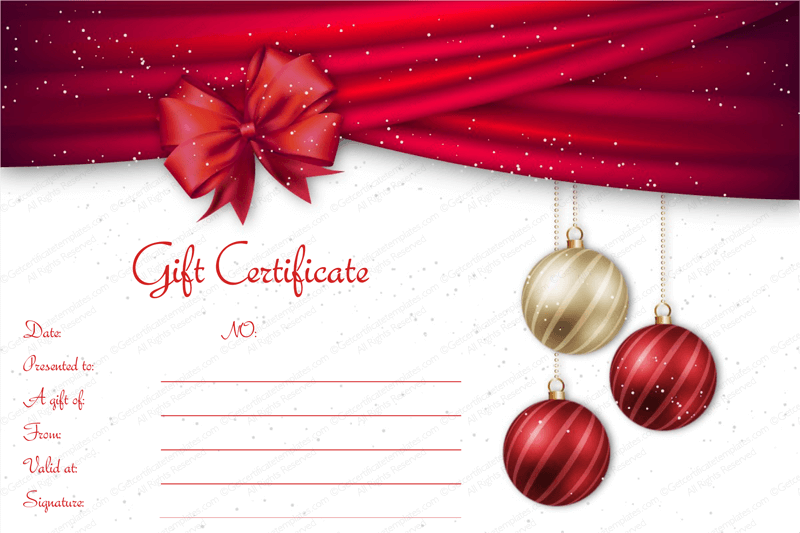 Delightful Velvet Ribbons Christmas Gift Certificate Template To Christmas Gift Vouchers Templates