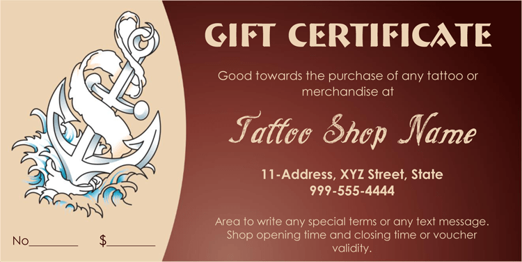 Anchor themed tattoo gift certificate template yelopaper Choice Image