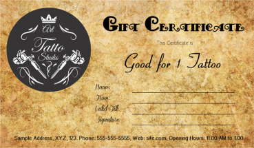 Antique Style Tattoo Gift Certificate Template