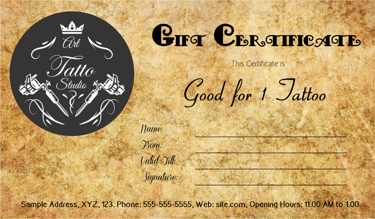 Download Options for Antique Style Tattoo Gift Certificate Template :