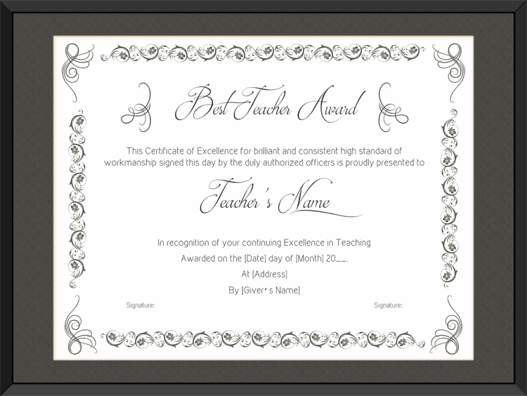 best teaching performance award certificate template