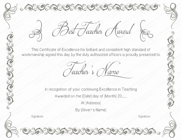 Award certificate templates editable printable in word best teaching performance award certificate template yadclub Image collections