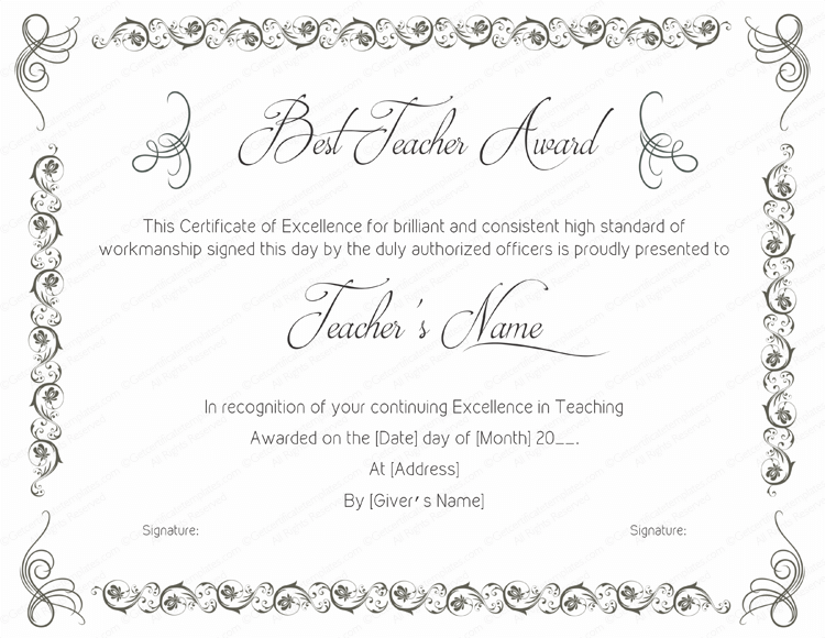 Performance Certificate Template | Best Teaching Performance Award Certificate Template