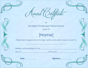 Excellent Employee Performance Award Certificate Template