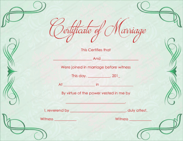 Green Grills Marriage Certificate Template