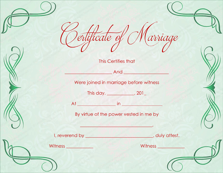 Green grills marriage certificate template editable marriage certificate template yelopaper Images