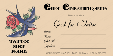 Love Bird Tattoo Gift Certificate Template
