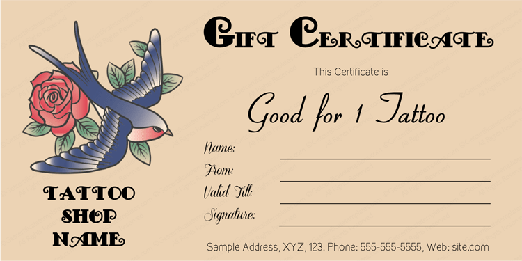 Download Options for Love Bird Tattoo Gift Certificate Template :