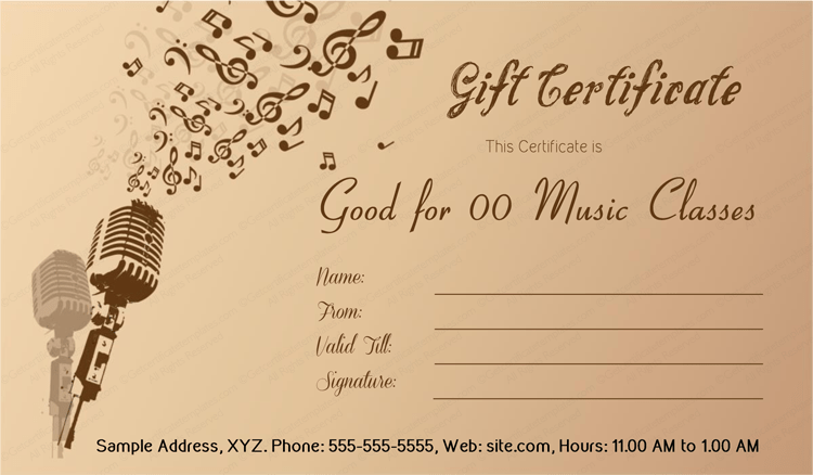 Gift Certificate Template For Music