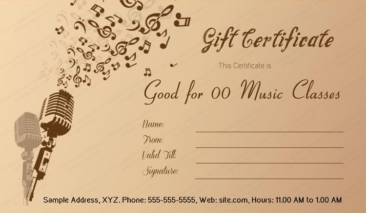 Music menia gift certificate template for Tattoo gift certificate template