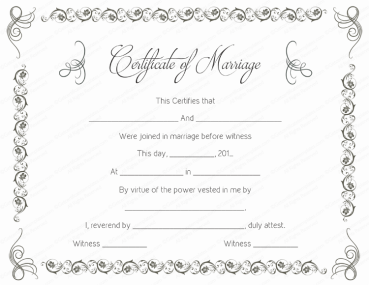 Marriage Certificate Template, Printable Marriage Certificate Template