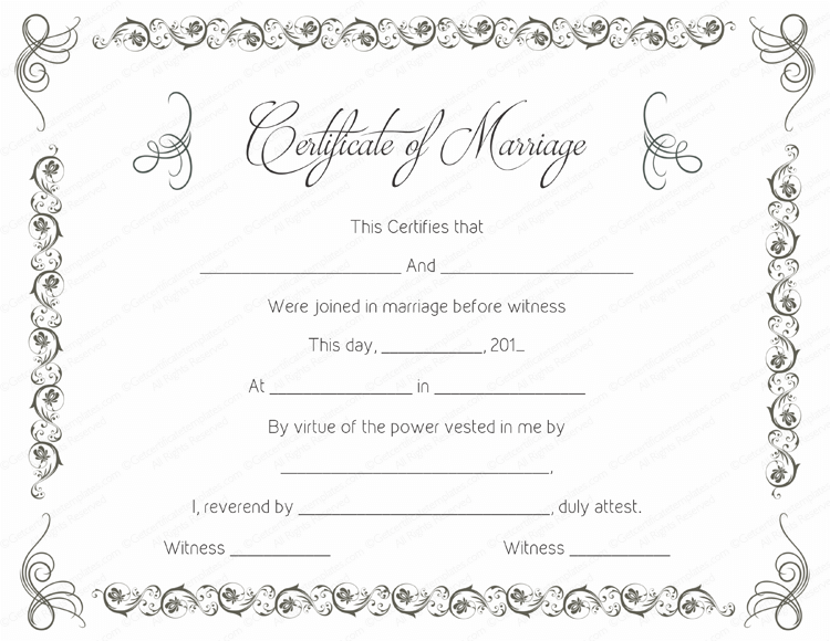 simple as gray marriage certificate template