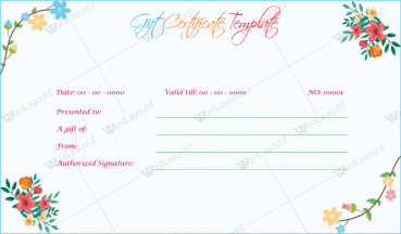 Blossoms Gift Certificate Template