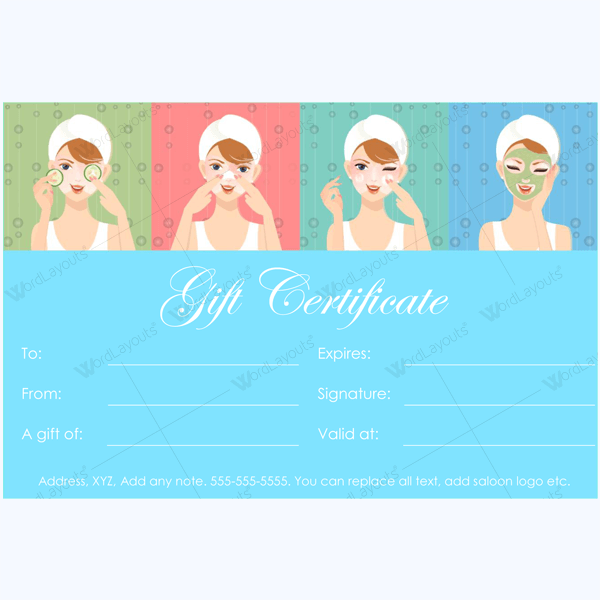 spa gift certificate design