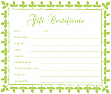 Spring Leafs Gift Certificate Template