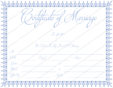 Blue Bells Marriage Certificate Template