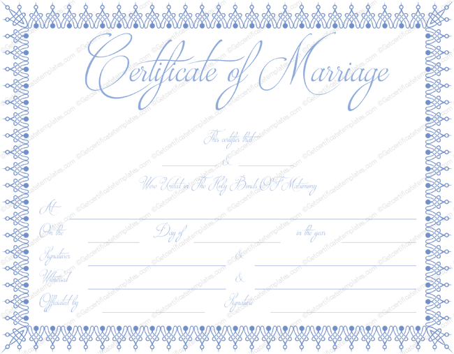 image relating to Printable Marriage Certificates referred to as Blue Bells Romance Certification Template