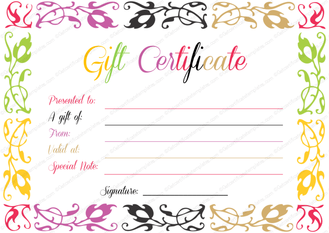 Colorful Gift Certificate Design