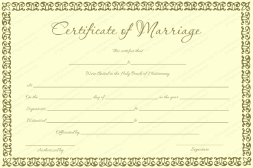 Banana Gold Colored Marriage Certificate Template
